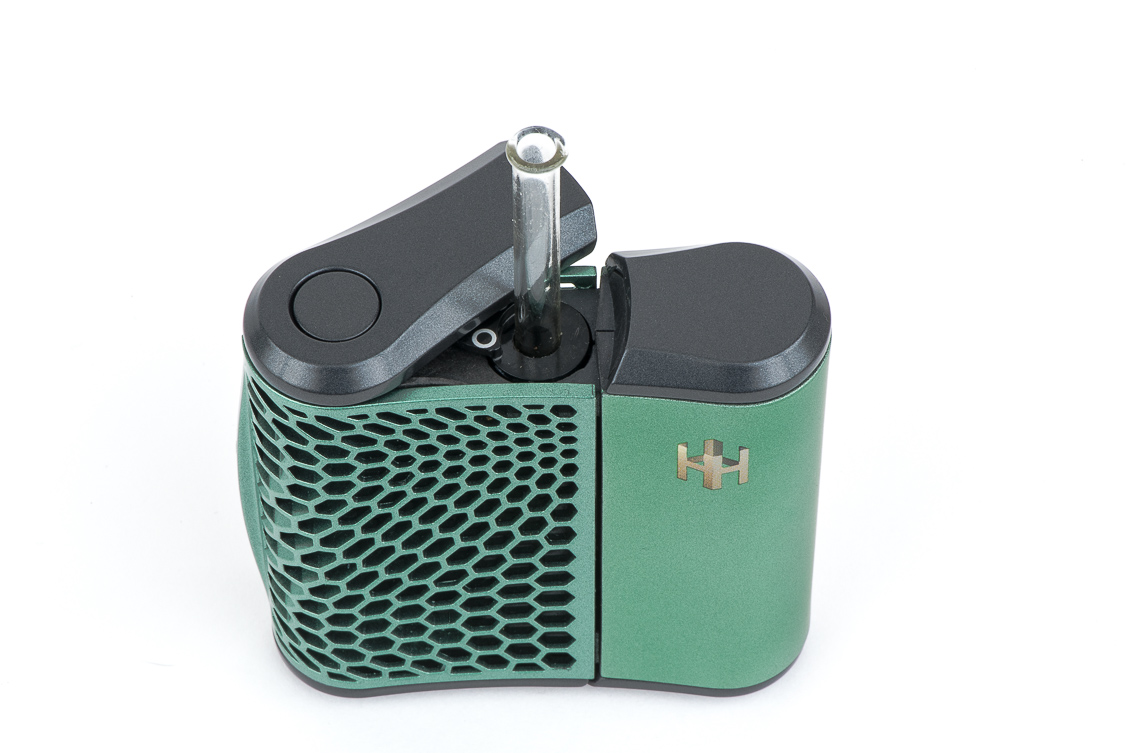 Haze Vaporizer Open with Glass Mouthpiece